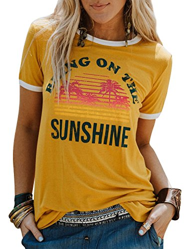 Nlife Casual Bring On The Sunshine Graphic Tees for Womens Tops Tshirts