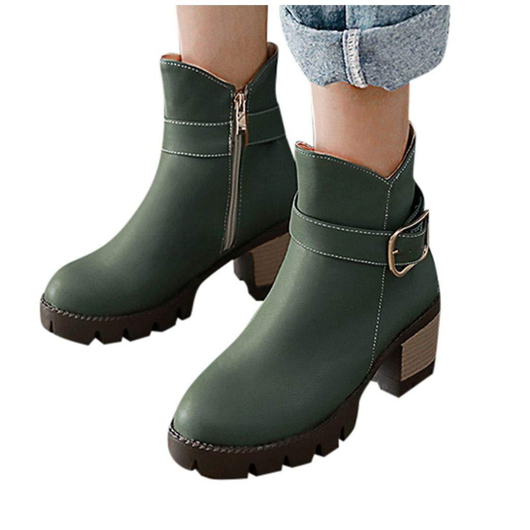 Frunalte Women's Platform Booties,Casual Leather Bare Double Buckle Boots Side Zipper Square Heel Ankle Short Boots Green by Frunalte Women Shoes