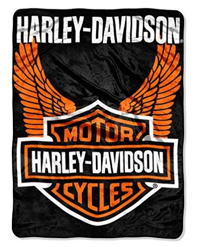 Harley-Davidson Orange Wings Royal Plush Raschel Throw, 60 x 80 inch ()