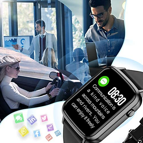 2020 CEGAR Fitness Tracker, Smart Watch with Heart Rate, Ip68 Waterproof Bluetooth Smartwatch for Android iOS Phone, Sleep Tracking Calorie Counter,Pedometer for Women Men (Black) 51vcbQAOYEL