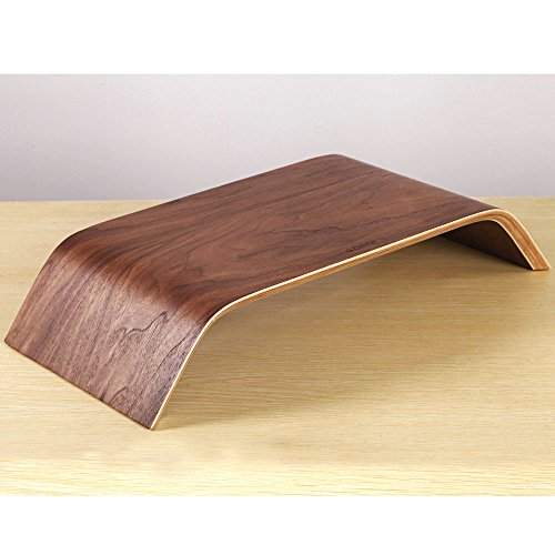 Samdi Monitor Stand Desktop Computer Heighen Universal Wooden Stand Dock Holder Display Bracket for iMac PC Notebook Laptop (Walnut Color)