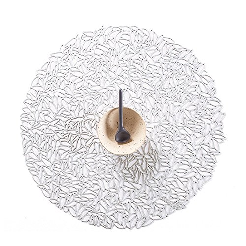 Chilewich Pressed Vinyl Petal Round Placemat Glacier, 15