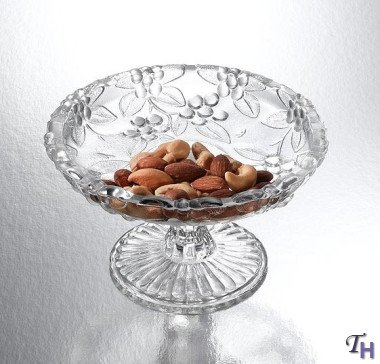 1 X Clear Crystal Floral Plate On Foot Candy Dish (Floral Candy Dish)