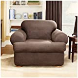 Sure Fit Stretch T-Cushion 2-piece Chair Slipcover Camel