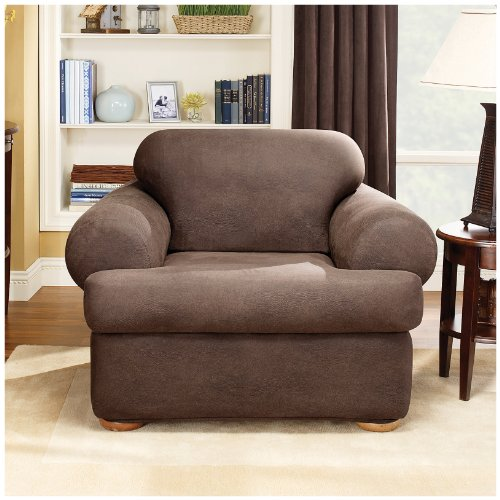 Sure Fit Stretch T-Cushion 2-piece Chair Slipcover Camel by Surefit (Image #1)