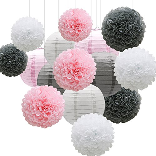 Pink Halloween Party (KAXIXI Hanging Party Decorations Set, 15pcs Pink Gray White Paper Flowers Pom Poms Balls and Paper Lanterns for Wedding Birthday Bridal Baby Shower)