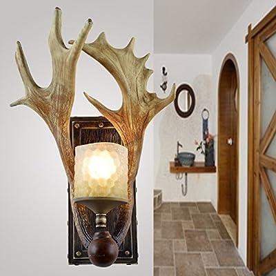 EFFORTINC Rustic Deer Horn Antler Wall Sconce 1 Light Fixtures
