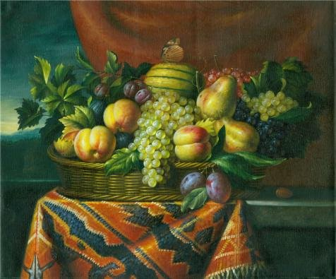 'Still Life With Fruits In The Basket' Oil Painting, 10x12 I