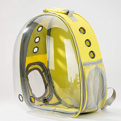 Pet Supplies Puppy Cat Full Transparent Backpack, Broad Field of View, Double Shoulder Bag Portable Pet Supplies (Color : Yellow)