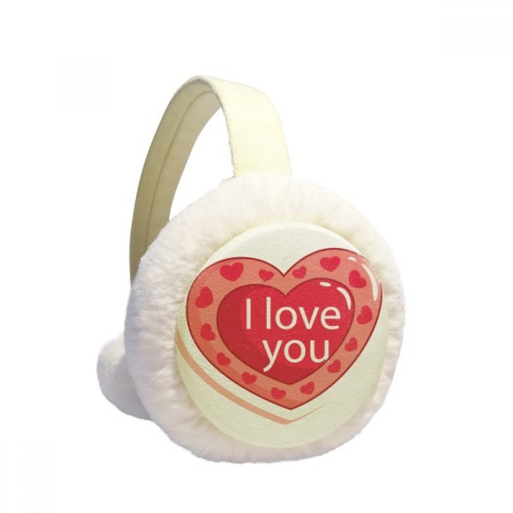 Valentine's Day I Love You Pink Heart Winter Earmuffs Ear Warmers Faux Fur Foldable Plush Outdoor Gift