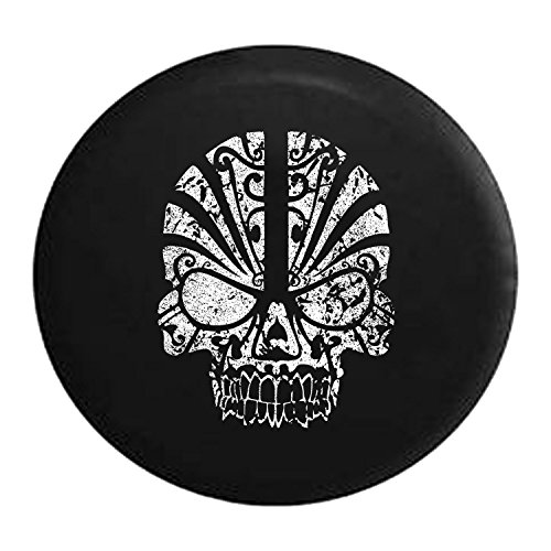 (Distressed - Spare Tire Cover Tribal Skull Mask 33 Inch )