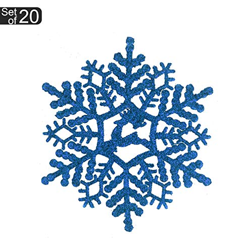 KI Store 20ct Christmas Snowflake Decoration Ornaments Glitter Decorative Hanging Ornaments for Christmas Décor Trees Window (Blue, 4.3-Inch) -