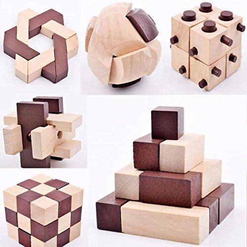 B&Julian IQ Puzzle 3D Holzpuzzle Set 10 Knobelspiele für erwachsene Kinder Geduldspiele Rätselspiele Geschicklichkeitsspiele aus Holz