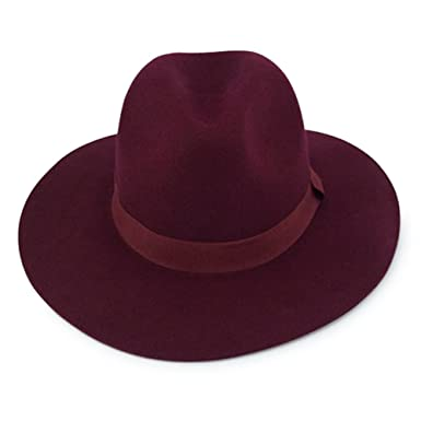 Men s   Women s Wide Brim 100% Wool Felt Fedora Hat (BURGUNDY) at ... 75389fb5bdc