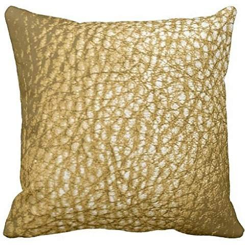 Faux Light Gold Metalic Leather Print-Solid Throw pillow cover 18*18 cover 18*18