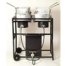 King Kooker KKDFF30T 30-Inch Dual-Burner Outdoor Propane Frying Cart