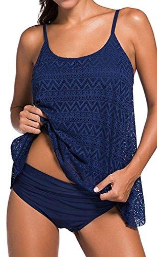 Juleya Ropa de Baño de Encaje Hueco Camiseta Tankini para Mujer Playa Azul