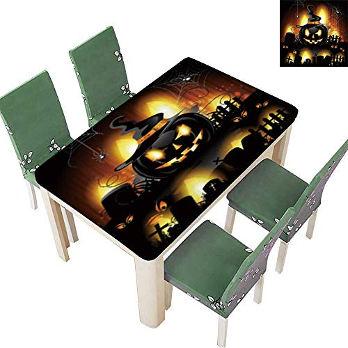 Printsonne Polyester Cloth Fabric Cover Halloween Background with Cemetery and Pumpkin Tablecloths for Kitchen Room 50 x 72 Inch (Elastic Edge)]()