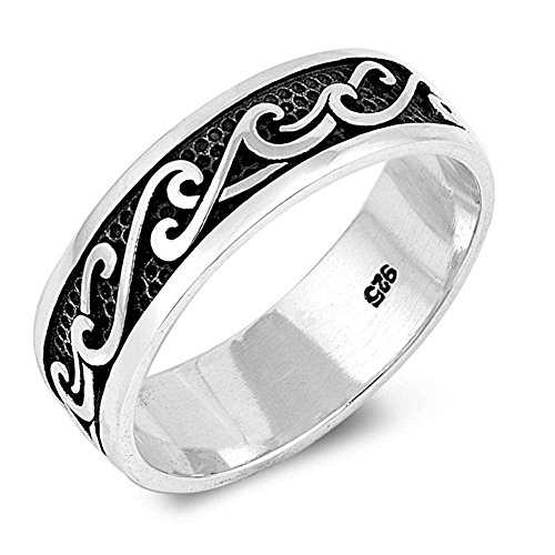 Sterling Silver Solid Plain Wave Design Band Ring Sizes 10