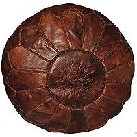 Fairtrade Handmade Moroccan Kasbah Ottoman Leather Pouffe Footstool 524 Dk Brown