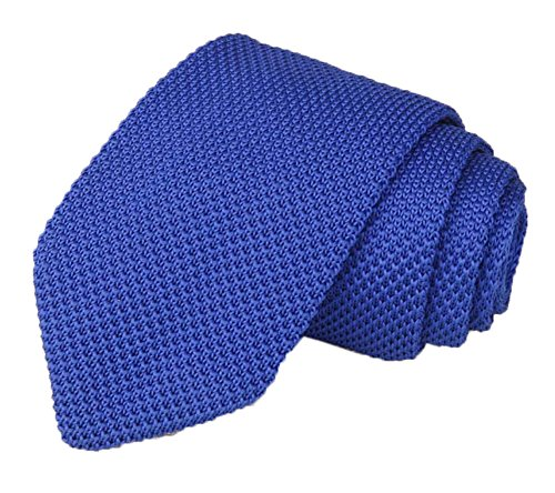 Men's Denim Blue Eco-friendly Silk Ties Extra Long Knit Necktie Solid 58 Inches