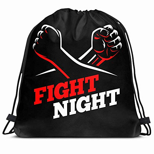 Ahawoso Drawstring Backpack String Bag 14X16 Red Clenched Fists Fight Club Mma Kick People Sports Conflict Recreation Boxing Fighter Battle Revolution Sport Gym Sackpack Hiking Yoga Travel Beach (Best Fighter In Fight Night Champion)
