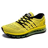 ONEMIX Men's Air Cushion Lightweight Gym Outdoor Sports Sneaker Tilted Tongue Running Shoes(1155, Black/Yellow US 8.5)