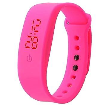 Reloj de pulsera unisex con correa de silicona de Brussels08, pantalla digital LED, estilo deportivo, para niños y niñas, hot pink, Medium: Amazon.es: ...