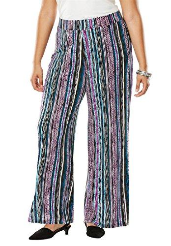 Jessica London Women's Plus Size Travel Knit Wide Leg Pants - Multi Brushed Striped, 14/16
