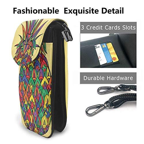 Hdadwy mobiltelefon crossbody väska regnbåge ananas kvinnor PU-läder mode handväska med justerbar rem