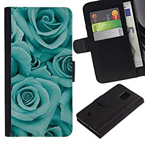 Billetera de Cuero Caso Titular de la tarjeta Carcasa Funda para Samsung Galaxy S5 Mini, SM-G800, NOT S5 REGULAR! / blue roses flowers floral petal teal / STRONG