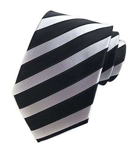 Youth White Satin (Men Repp Black and WHIte Slim Ties Narrow Striped Woven Office Matching Neckties)