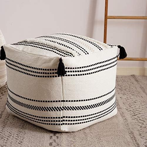 Stripe Morocco Tufted Boho Decorative Unstuffed Pouf