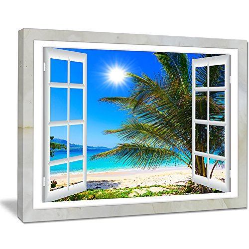 Design Art Window Open to Beach with Palm X-Large Seashore Canvas Art, 20x12'' by Design Art
