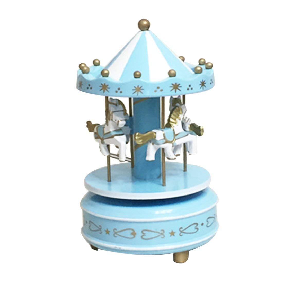 fgdjfhsdfgsdfh Carillon di giostra di Legno Carillon di Giocattoli per Bambini Giocattoli Compleanni di Nozze Regalo Scatola di giostra Musicale Fairground (Blu)