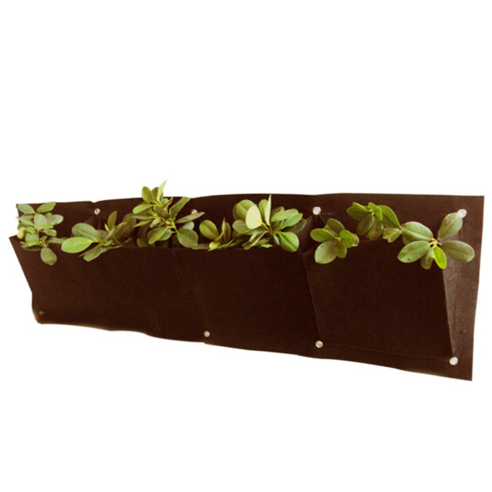 OriginA Grow Bag, Patio Flower Planter, Garden Planter, 12''-W x 24''-L 1 pack Vegetable Container(Horizontally 4 pockets T1mm, Brown)