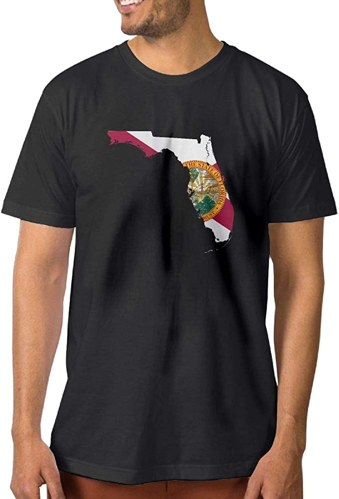 Abstract Florida State Map with Flag Mens Cotton T-Shirt Basal Short Sleeve