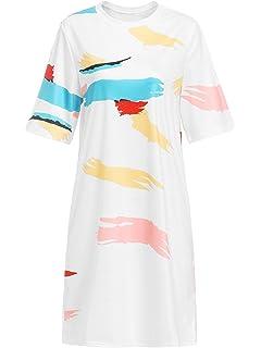 66f2f18fa0ad Romwe Loose Casual Short Sleeve Tie Dye Ombre Swing T-Shirt Tunic Dress