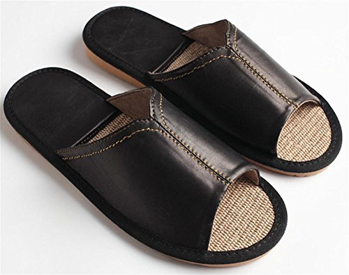 W&XY leather flip flop male indoor flax Home Non-slip Home sandals 40