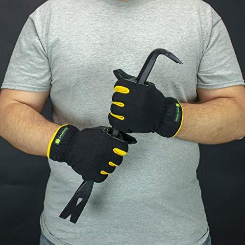 John Deere JD00029 M Men's Synthetic Leather Hi-Dex Gloves, Medium, Black Yellow (1 pair)