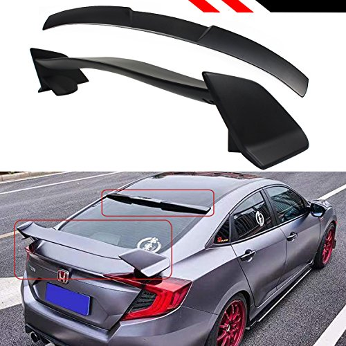 16-2018 Honda Civic 4DOOR Type-R Style Trunk Wing + Rear Window ROOF Spoiler ()