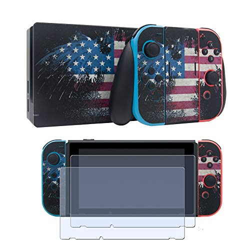 Vinyl Skin Faceplate Sticker for Nintendo Switch Full Set Cover Decal with 2 Pcs Screen Protector-USA Flag