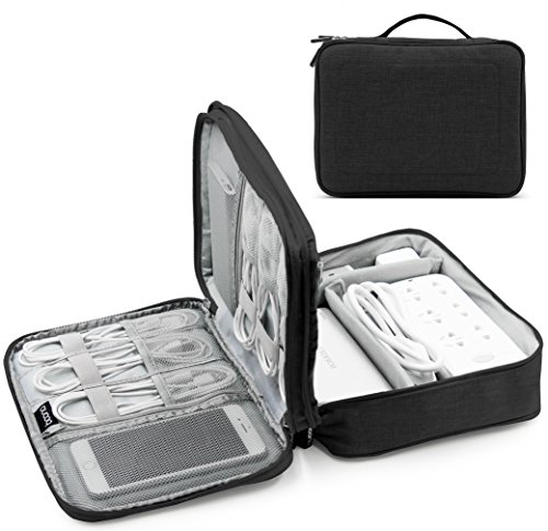 BAONA Double Layer Travel Universal USB Cable Organizer Cases Electronics Accessories Storage Bag for Various USB Drive, Charger, Cable, Hard Drive Disk, Power Bank, Phone and Ipad Mini -Black by baona