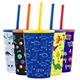 Kitchen & Housewares : Simple Modern Kids Cup 12oz Classic Tumbler with Lid and Silicone Straw - Vacuum Insulated Stainless Steel for Toddlers Girls Boys -Dinosaurs