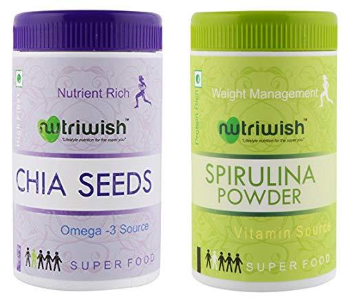 Nutriwish Premium Raw Chia Seeds, 250g & Spirulina Powder, 100g
