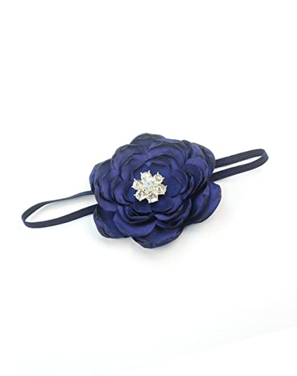 ac2ad7d58ad Elastic Kids Baby Headband with Burned Satin Flower Shiny Rhinestone  Headwear JA58 (1-Navy