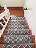 carpet for stairs Sultansville Trellisville Collection Trellis Design Vibrant and Soft Stair Treads, Grey, Pack of 13