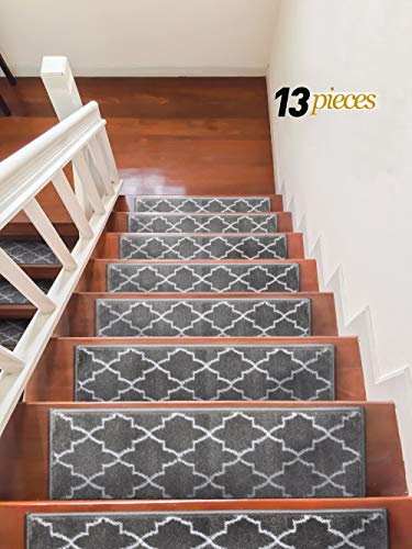 Sultansville Trellisville Collection Trellis Design Vibrant and Soft Stair Treads, Grey, Pack of 13 ()