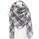 DH.M Blanket Scarf Women Big Square Long Scarves Warm Tartan Checked Shawl