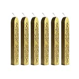 UNIQOOO Arts & Crafts 6 Gold Sealing Wax Sticks With Wick for Wax Stamp